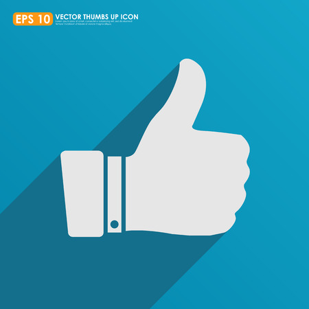 cheer up: Thumbs up icon with shadow on blue background - like   favorite concept Stock Photo