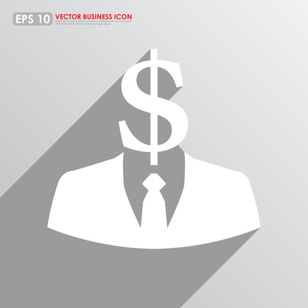 Businessman icon with dollar sign head on gray background - business abstract Stock Photo