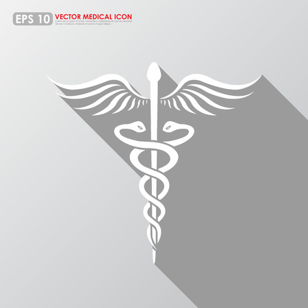 asclepius: Caduceus sign with shadow on gray background - medical vector icon