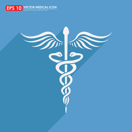 asclepius: Caduceus sign with shadow on blue background - medical vector icon Stock Photo