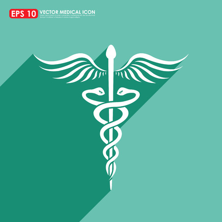 asclepius: Caduceus sign with shadow on green background - medical vector icon Stock Photo