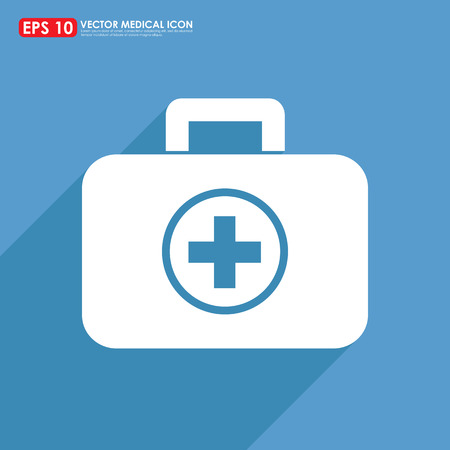 Los primeros auxilios o en el icono kit médico Foto de archivo