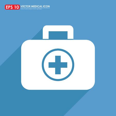 botiquin de primeros auxilios: Los primeros auxilios o en el icono kit médico Foto de archivo