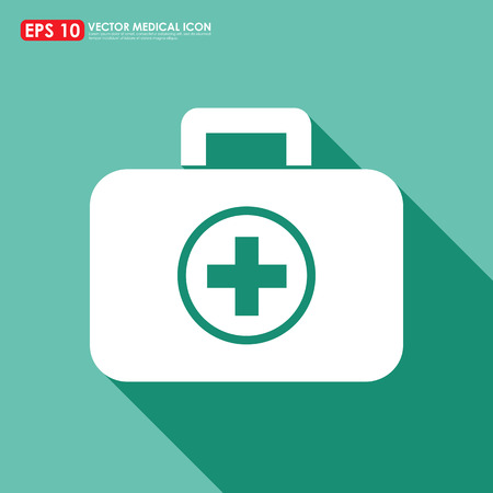 First aid or medical kit icon on light green background photo