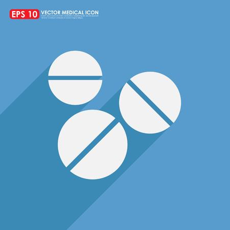 pilule: Tablet o píldora - icono de la medicina en azul Foto de archivo