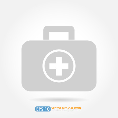 first aid kit: First aid or medical kit icon - light version
