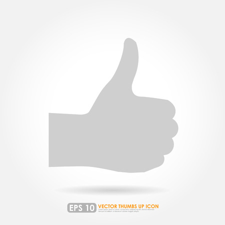 finger up: Thumbs up silhouette on white