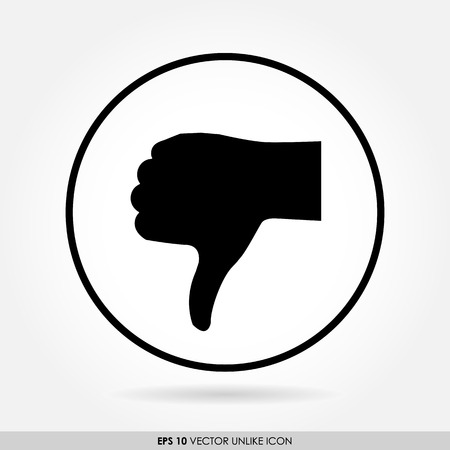 thumbs down: Thumbs down sign in circle - vector icon - bad & dislike concept