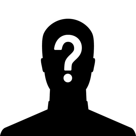 Man silhouette icon with question mark sign - anonymous & suspect concept photo