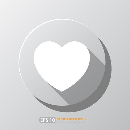 plain button: White heart shape icon in circle on gray background