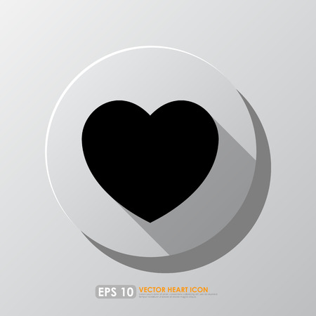 Black heart shape icon in circle on gray backgrond Vector