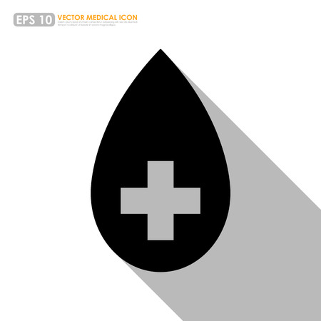 first aid sign: Drop icon with first aid sign - blood donation & medical concept Illustration