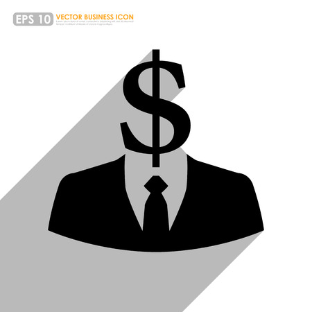 rapacious: Black businessman icon with dollar sign head - business abstract