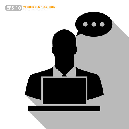 Businessman icon with computer and speech bubble on white background Vector
