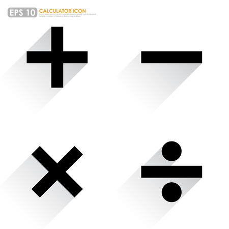 multiplicar: Símbolos básicos matemáticos - más, menos, multiplican y dividen - en el fondo blanco Vectores