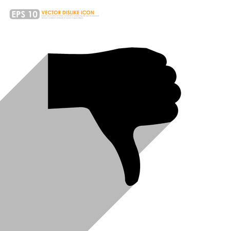 disapprove: Black thumbs down icon with shadow on white background