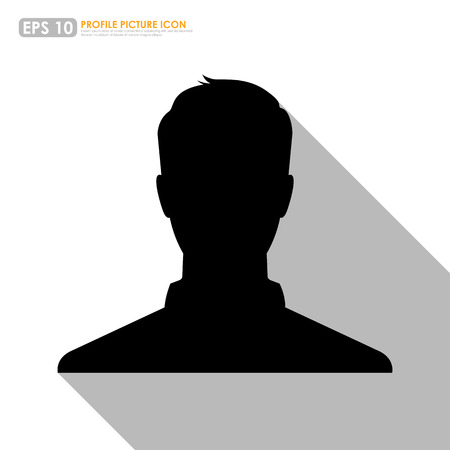 profile picture: Male silhouette avatar profile picture on white background Illustration