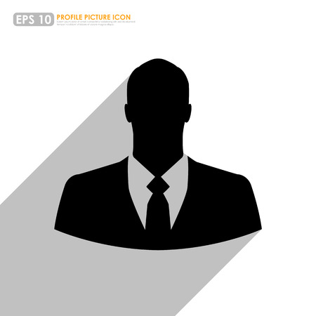 profile picture: Silhouette of businessman on white background as avatar profile picture