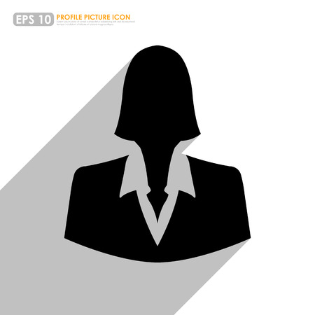 businessperson: Businesswoman icon with shadow in white background