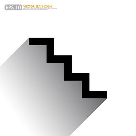 stair: Icono de la escalera simple en el fondo blanco