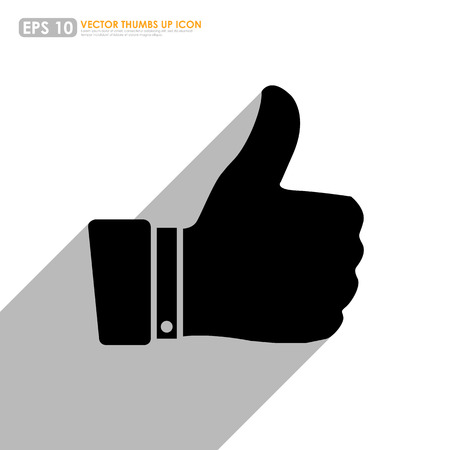 cheer up: Black thumbs up icon with shadow on white background