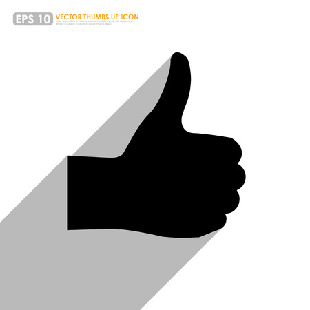 thumbs up icon: Black thumbs up icon with shadow on white background