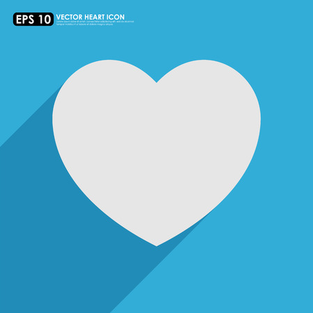 White heart shape on blue background Vector