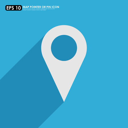Map pointer icon on blue background Vector