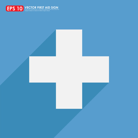 White first aid sign with shadow on blue background Vector