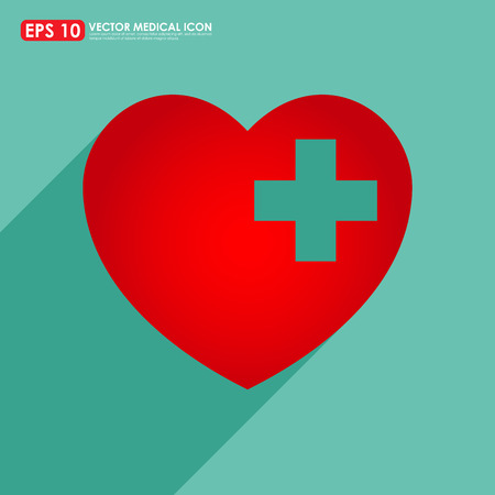 first aid sign: Red heart shape icon with first aid sign on light green background