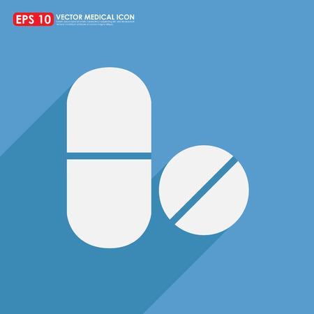 pilule: Icon Medicina - di capsula su sfondo blu Vettoriali