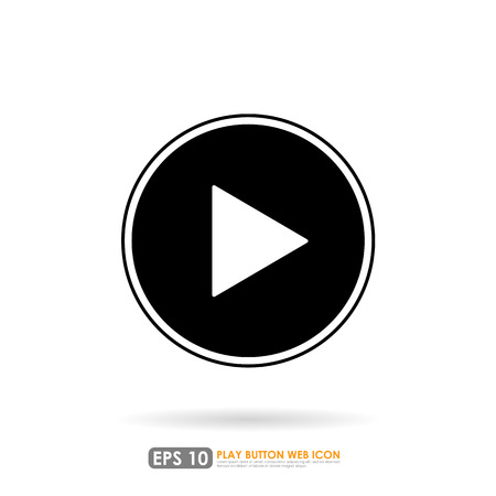 Play icon in circle on white background Vector