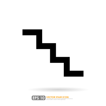 up stair: Simple stair icon on white background