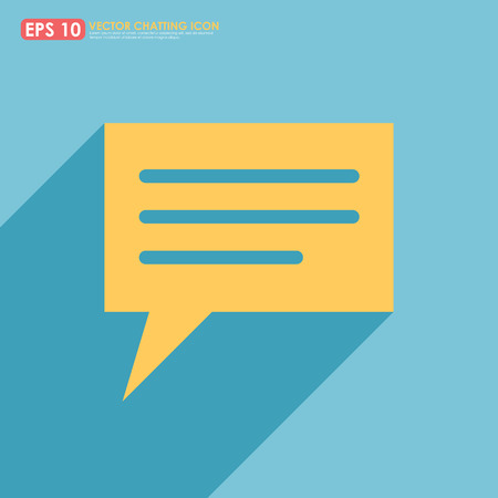 Yellow speech or comment bubble on blue background Illustration
