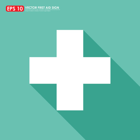 first aid sign: White first aid sign with shadow on light green background