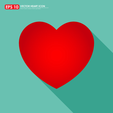 Red heart shape on light green background Vector