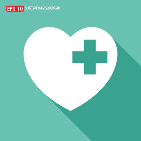 cross with care: White heart shape icon with first aid sign on light green background
