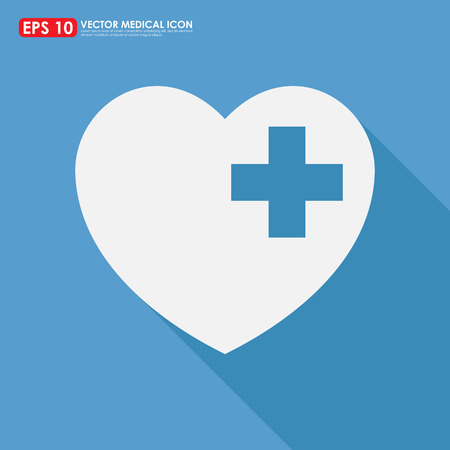 first aid sign: Heart shape icon with first aid sign on blue background