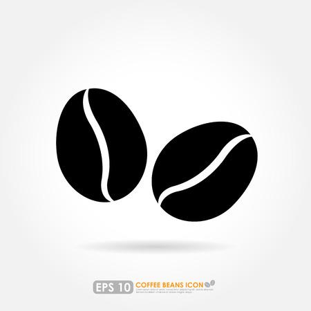 chicchi di caff�: Icona del chicco di caff� su sfondo bianco Vettoriali