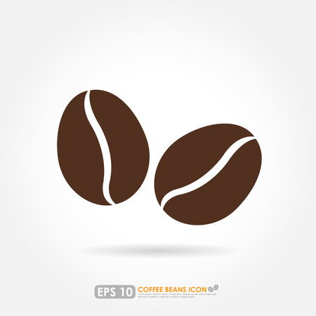 white beans: Coffee bean icon on white background