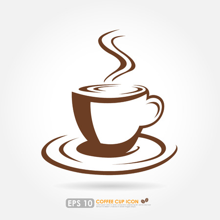 hot cup: Hot coffee cup outline on white background - drink & beverage icon Illustration