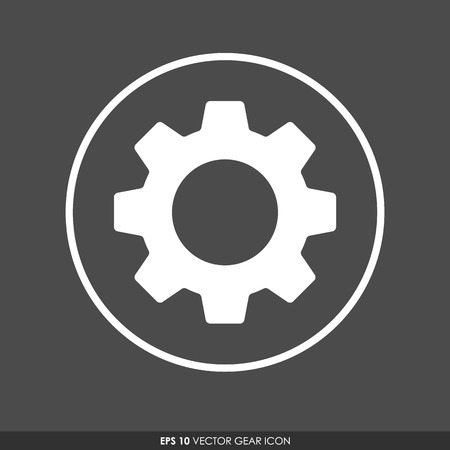 Gear or cog icon in circle  on dark gray background Vector