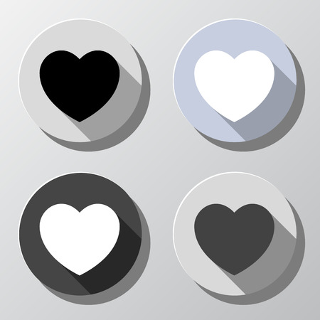 plain button: Set of heart shape icons in circles - retro colors Illustration