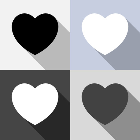 Collection of heart shape icons - retro colors Vector