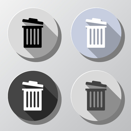 trashcan: Retro style trash bin or delete icon set Illustration