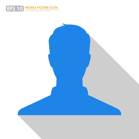 profile picture: Blue male avatar profile picture on white background Illustration
