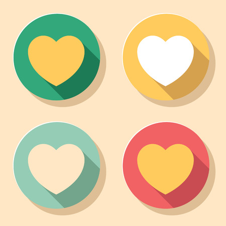 plain button: Set of heart shape icons in colorful vintage colors