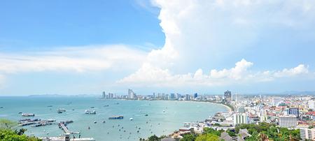 pattaya thailand: Panoramic view of Pattaya beach and Pattaya city - eastern Thailand