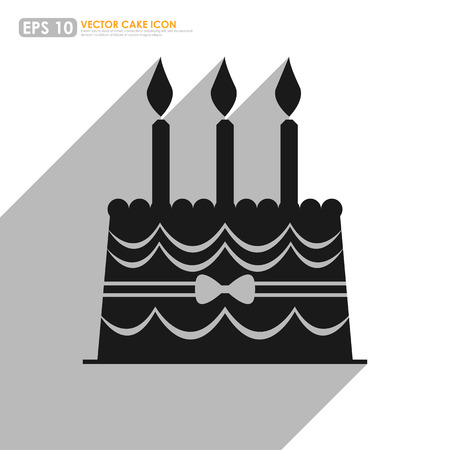 white candle: Black cake icon with shadow - birthday and celebration concept