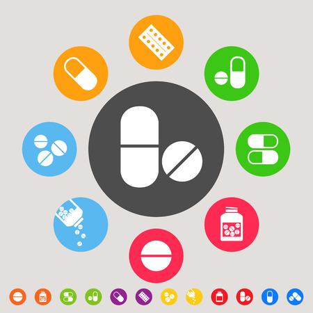 pilule: Medicinali - colorato vettore collezione di icone Vettoriali
